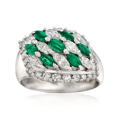 C. 1980 Vintage .71 ct. t.w. Emerald and 1.41 ct. t.w. Diamond Ring in Platinum, , default