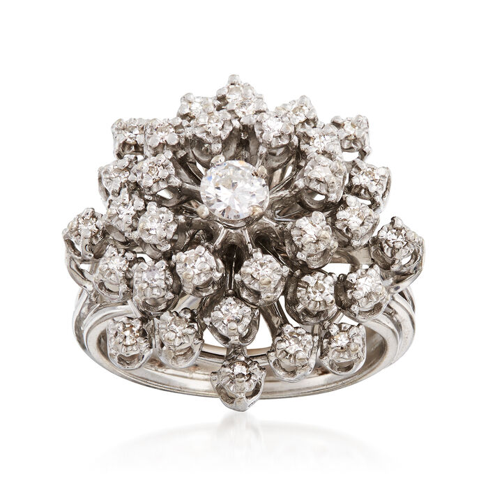 C. 1970 Vintage .60 ct. t.w. Diamond Cluster Ring in 14kt White Gold. Size 6, , default