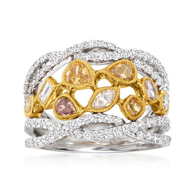 C. 1990 Vintage 2.07 ct. t.w. Multicolored Diamond Cluster Ring in 18kt Two-Tone Gold