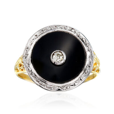 C. 1970 Vintage Black Onyx Ring with Diamond Accent in 14kt Two-Tone Gold, , default