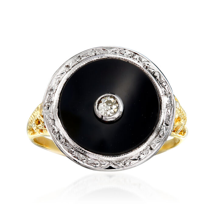 C. 1970 Vintage Black Onyx Ring with Diamond Accent in 14kt Two-Tone Gold