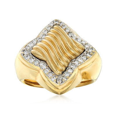 C. 2000 Vintage David Yurman .36 ct. t.w. Diamond Geometric-Shaped Ring in 18kt Yellow Gold, , default