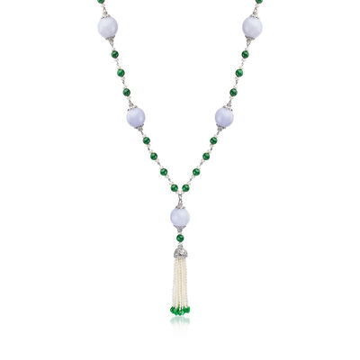 C. 1990 Vintage Cultured Pearl and Green Jade Tassel Necklace in 18kt White Gold, , default