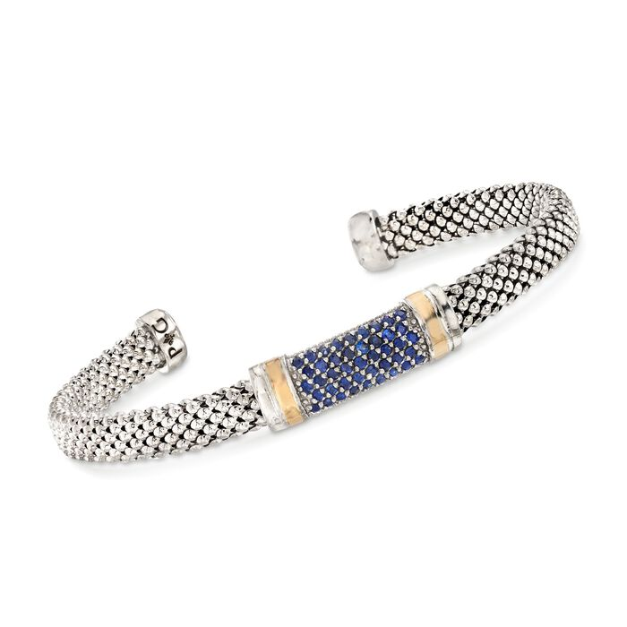 "Phillip Gavriel ""Popcorn"" .84 ct. t.w. Sapphire Cuff Bracelet in Sterling Silver and 18kt Gold. 7.5"", , default"