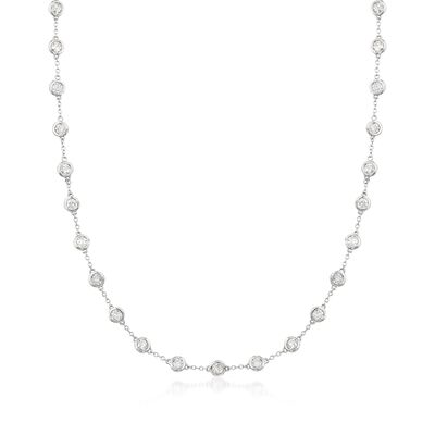 5.00 ct. t.w. Bezel-Set Diamond Station Necklace in 14kt White Gold, , default