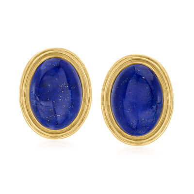 C. 1960 Vintage Lapis Clip-On Earrings in 14kt Yellow Gold