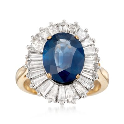 C. 1990 Vintage 4.66 Carat Ceylon Sapphire and 2.20 ct. t.w. Diamond Ring in Platinum and 18kt Yellow Gold, , default