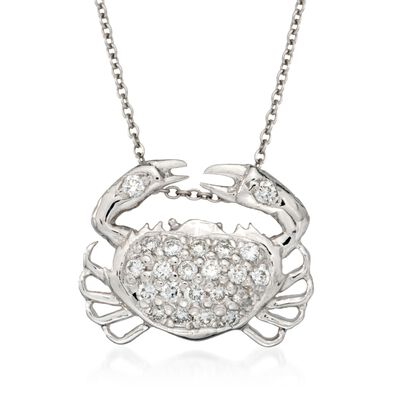 "Roberto Coin ""Tiny Treasures"" .19 ct. t.w. Crab Diamond Necklace in 18kt White Gold"