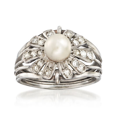 C. 1950 Vintage 6mm Cultured Pearl and .36 ct. t.w. Diamond Floral Ring in Platinum, , default