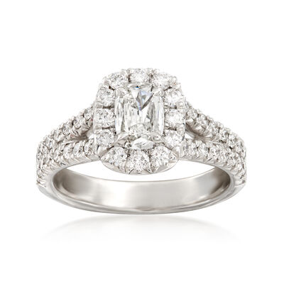 Henri Daussi 1.28 ct. t.w. Diamond Halo Engagement Ring in 18kt White Gold, , default