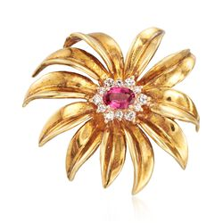 C. 1970 Vintage .50 Carat Pink Sapphire and .25 ct. t.w. Diamond Flower Pin in 18kt Yellow Gold, , default