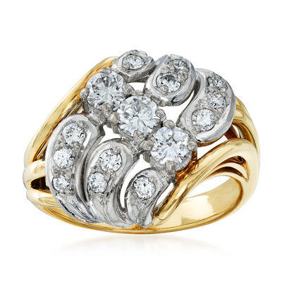 C. 1980 Vintage 1.00 ct. t.w. Diamond Cluster Ring in 14kt Two-Tone Gold, , default