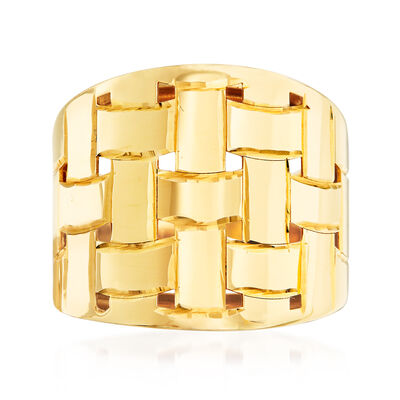 Italian 14kt Yellow Gold Basketweave Dome Ring, , default