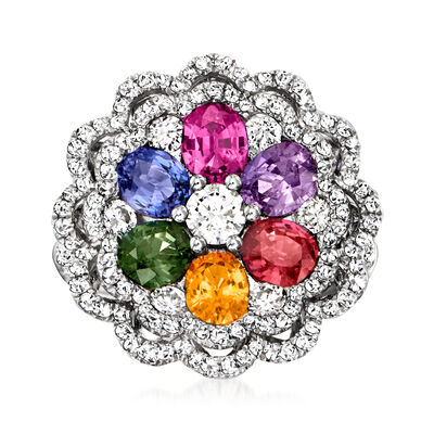 C. 1990 Vintage 2.53 ct. t.w. Multicolored Sapphire Flower Ring with 1.26 ct. t.w. Diamonds in 18kt White Gold