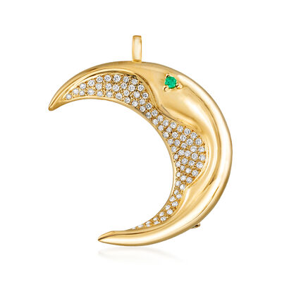 C. 1980 Vintage 1.05 ct. t.w. Diamond Half- Moon Pin/Pendant with Emerald Accent in 18kt Yellow Gold