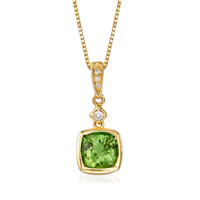 C. 1990 Vintage 1.40 Carat Green Tourmaline Pendant Necklace with Diamond Accents in 14kt Yellow Gold, , default