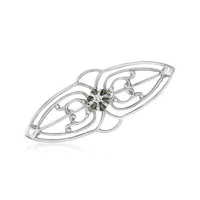 C. 1950 Vintage 10kt White Gold Pin with Diamond Accent