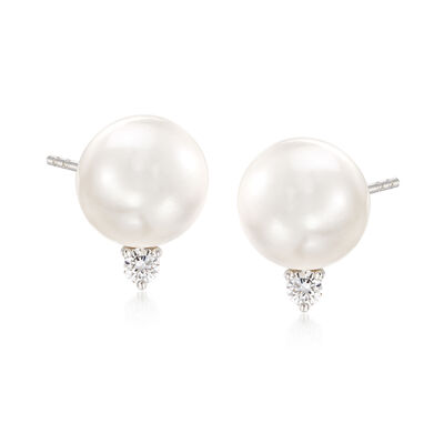 "Mikimoto ""Everyday Essentials"" 10mm A+ South Sea Pearl and .20 ct. t.w. Diamond Earrings in 18kt White Gold, , default"
