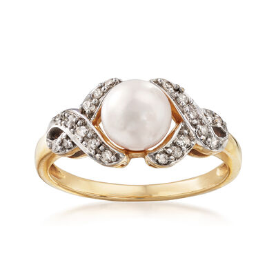 C. 1990 Vintage Cultured Pearl .20 ct. t.w. Diamond Ring in 14kt Yellow Gold, , default