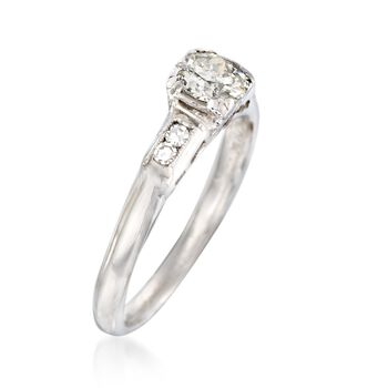 C. 1950 Vintage .56 ct. t.w. Diamond Engagement Ring in 14kt White Gold. Size 6