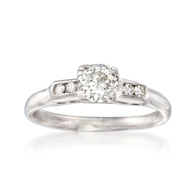 C. 1950 Vintage .56 ct. t.w. Diamond Engagement Ring in 14kt White Gold