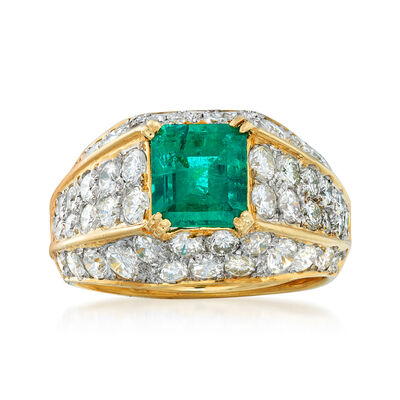 C. 1990 Vintage 1.64 Carat Zambian Emerald and 3.00 ct. t.w. Diamond Ring in 18kt Yellow Gold, , default