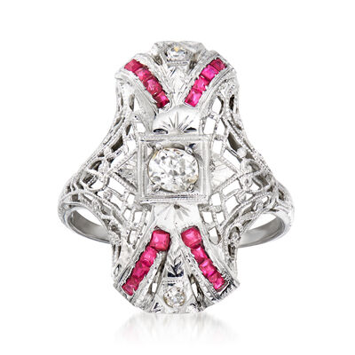 C. 1930 Vintage .35 Carat Diamond and .40 ct. t.w. Synthetic Ruby Filigree Ring in 18kt White Gold
