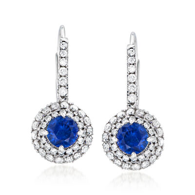 C. 1980 Vintage .80 ct. t.w. Sapphire and .53 ct. t.w. Diamond Earrings in 18kt White Gold