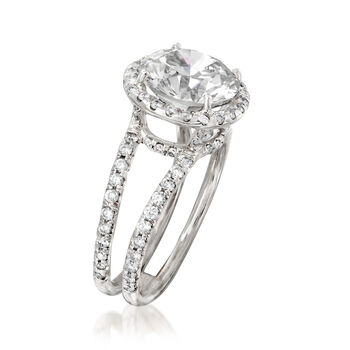 4.22 ct. t.w. Diamond Halo Ring in 18kt White Gold. Size 6