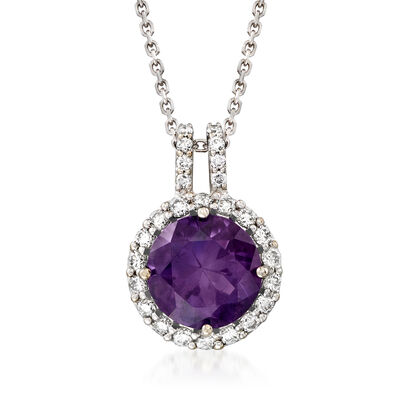 C. 1990 Vintage Tresorra 2.37 Carat Amethyst and .38 ct. t.w. Diamond Pendant Necklace in 18kt White Gold