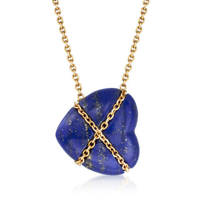 C. 1990 Vintage Tiffany Jewelry 12x13mm Lapis Heart Necklace in 18kt Yellow Gold, , default