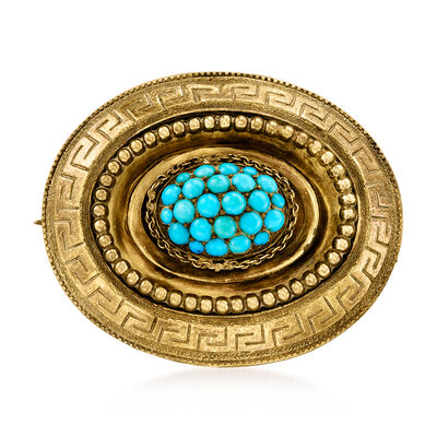 C. 1910 Vintage Turquoise Mourning Pin in 18kt Yellow Gold with Greek Key Border