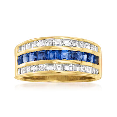 C. 1990 Vintage 1.30 ct. t.w. Sapphire and 1.14 ct. t.w. Diamond Ring in 18kt Yellow Gold
