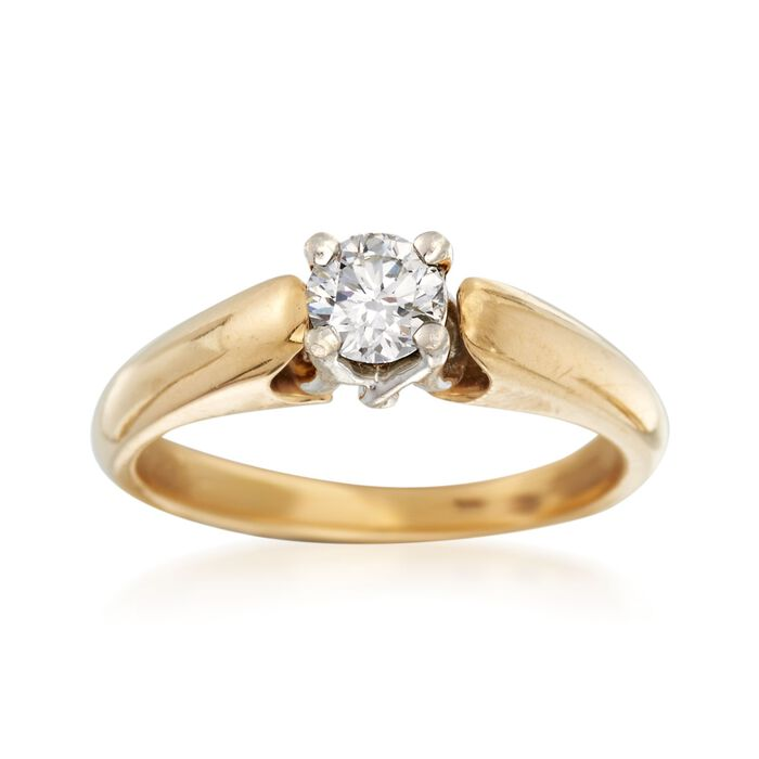 C. 2000 Vintage .44 Carat Diamond Solitaire Ring in Platinum and 18kt Gold. Size 7.25