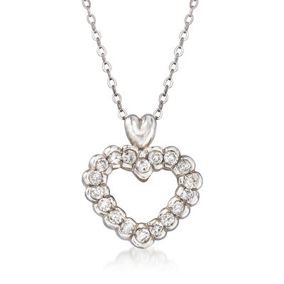 C. 1980 Vintage .75 ct. t.w. Diamond Heart Pendant Necklace in 14kt White Gold, , default