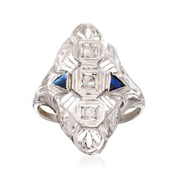 C. 1950 Vintage .15 ct. t.w. Synthetic Sapphire and .12 ct. t.w. Diamond Ring in 18kt White Gold, , default