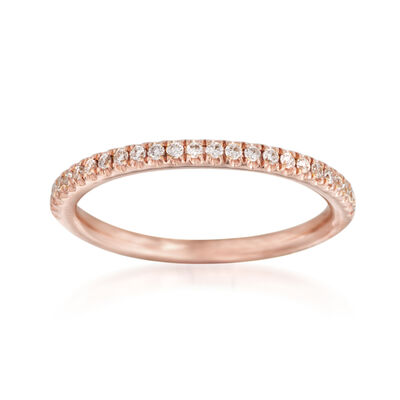 Henri Daussi .15 ct. t.w. Diamond Wedding Ring in 14kt Rose Gold