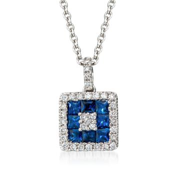 """Gregg Ruth .75 Carat Total Weight Sapphire and .25 Carat Total Weight Diamond Necklace in 18-Karat White Gold. 18"""", , default"""