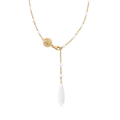 C. 1990 Vintage Mimi Milano White Agate, 4.8-4.5mm Cultured Pearl and .20 ct. t.w. Diamond Station Necklace in 18kt Yellow Gold