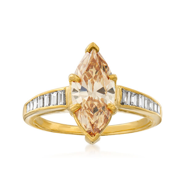 C. 2000 Vintage 2.02 Carat Certified Yellow Diamond and .60 ct. t.w. White Diamond Engagement Ring in 18kt Yellow Gold. #937544