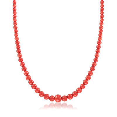 C. 1970 Vintage Red Coral Bead Necklace with 14kt Yellow Gold