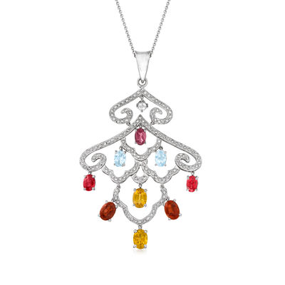 C. 1990 Vintage 5.40 ct. t.w. Multi-Gemstone and 1.25 ct. t.w. Diamond Pendant Necklace in 14kt White Gold