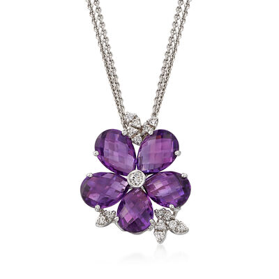 C. 1990 Vintage 7.90 ct. t.w. Amethyst and .35 ct. t.w. Diamond Flower Necklace in 18kt White Gold, , default