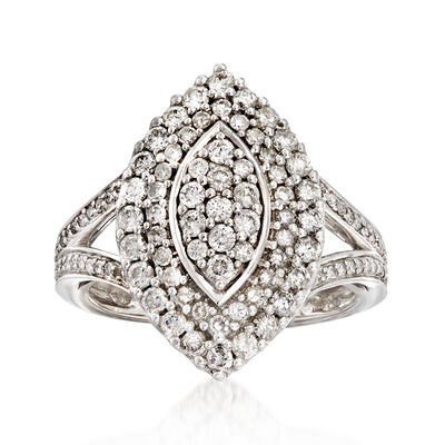 C. 1980 Vintage 1.20 ct. t.w. Diamond Cluster Ring in 14kt White Gold, , default