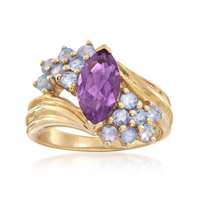 C. 1980 Vintage 1.60 Carat Amethyst and 1.00 ct. t.w. Tanzanite Ring in 10kt Yellow Gold, , default