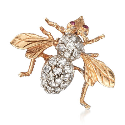 C. 1980 Vintage 1.00 ct. t.w. Diamond Bee Pin Pendant with Ruby Accents in 14kt Yellow Gold, , default
