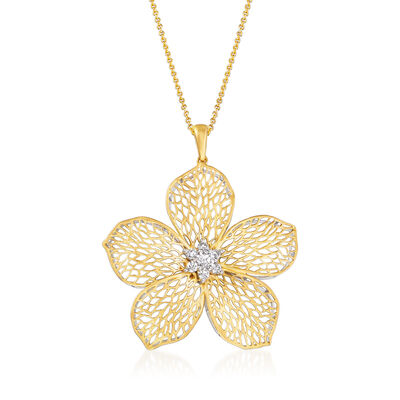 Simon G. .30 ct. t.w. Diamond Flower Pendant Necklace in 18kt Yellow Gold, , default