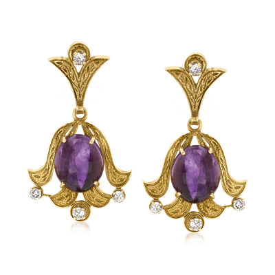 C. 1960 Vintage 13.00 ct. t.w. Amethyst and .55 ct. t.w. Diamond Drop Earrings in 18kt Yellow Gold