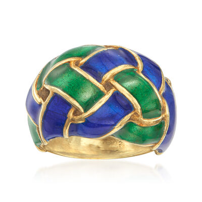 C. 1980 Vintage 14kt Yellow Gold Basketweave Dome Ring with Blue and Green Enamel, , default