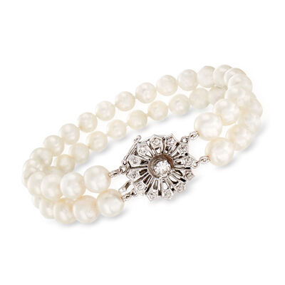 C. 1950 Vintage .60 ct. t.w. Diamond and 6.5x7.5mm Cultured Pearl Flower Bracelet in 14kt White Gold
